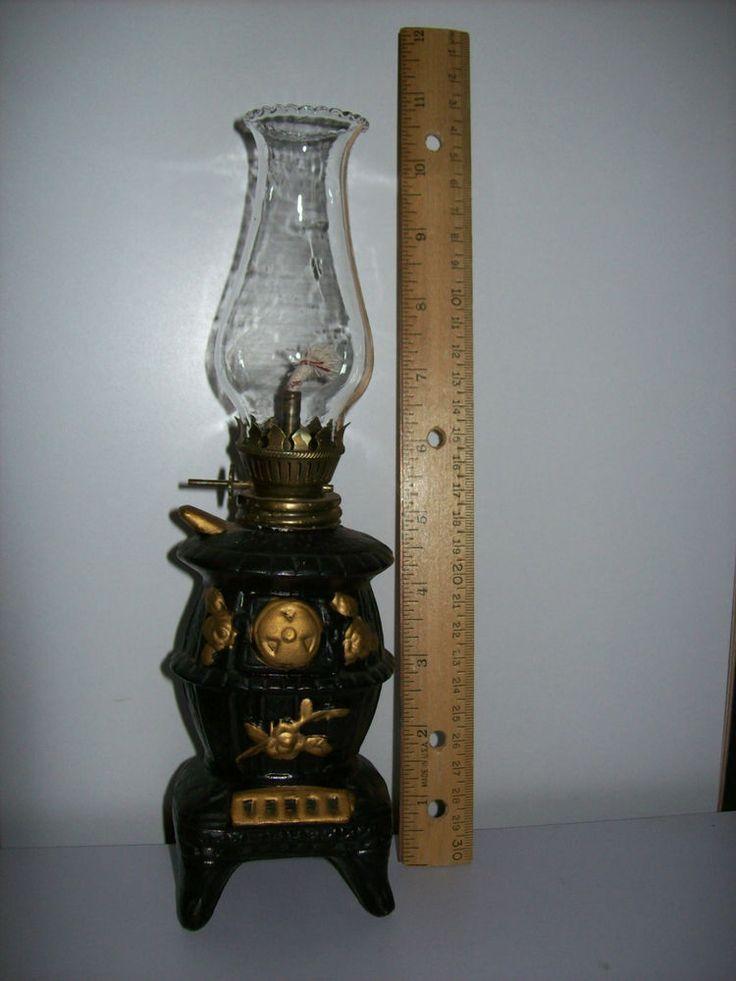 Vintage Ceramic Pot Belly Stove Kerosene Lamp 10 Tall Pot Belly Stove Kerosene Lamp Ceramic Pot