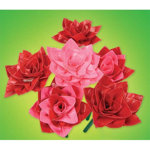 Darice Kids Craft Projects - Duck Tape Roses Craft. Download instructions at www.darice.com #DIY #kids #crafts