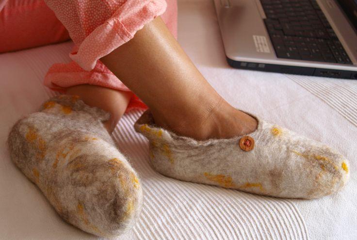 Handmade felt slippers.