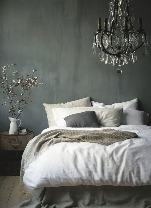 The 3 Biggest Home Decor Trends on Pinterest This Spring | StyleCaster | Grey Bedroom, Chandelier