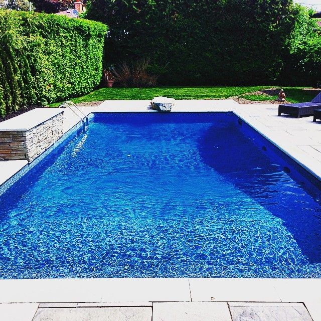 32 best vinyl liner inspiration images on pinterest family pool pool liners and pool fun - Rectangle pool with water feature ...
