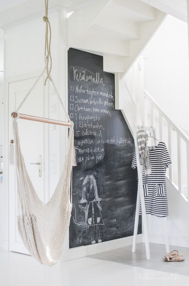 "Anne - Anne - what about chalk board paint all over the little stairs ""back wall"", behind the sofa, including the doors?!"