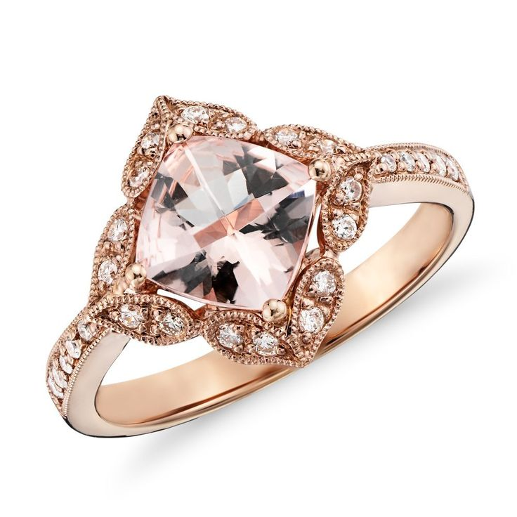 Vintage morganite and diamond ring...breathtaking (From Blue Nile via Lover.ly)