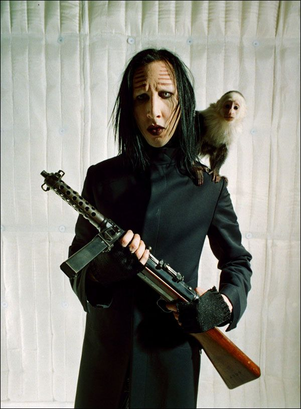 """The monkey / The Man[son] / then the gun"". Marilyn Manson"