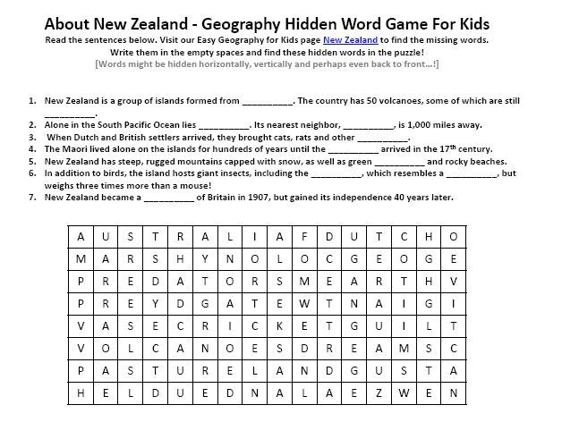 Image Of New Zealand Worksheet Free To Download Printable Geography Hidden Words Game Geography For Kids 1st Grade Math Worksheets Hidden Words