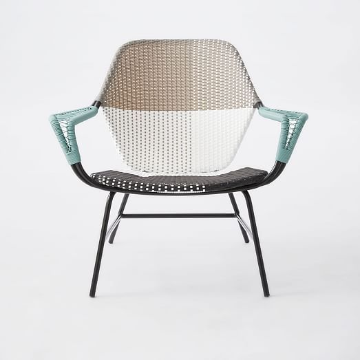 All-Weather Wicker Colorblock Woven Lounge Chair - Gray Tonal #westelm
