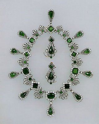 Paris Atelier: The Jewels of France Pieces from the emerald and diamond parure given to Empress Marie Louise by Napoleon on the occasion of their marriage.