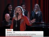"""Radically improve your Tinder profile by getting Kelly Clarkson to sing it Technically Incorrect: On Jimmy Kimmel's show, Clarkson shows how a little talent can make the words """"slip it into something"""" sound glorious."""