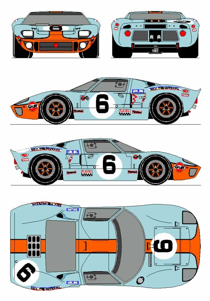 1968 Ford GT40 Gulf MK1 sketch:  We love sketched and prints of our favorites at Hillbank.