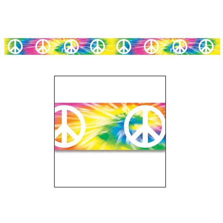 Club Pack of 12 Tie Dye Peace Sign Party Tape 3 x 20', Multi