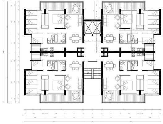 Clásicos de Arquitectura: Conjunto Residencial Villa Frei / Jaime Larraín + Osvaldo Larraín + Diego Balmaceda,Planta Edificio 10 Pisos