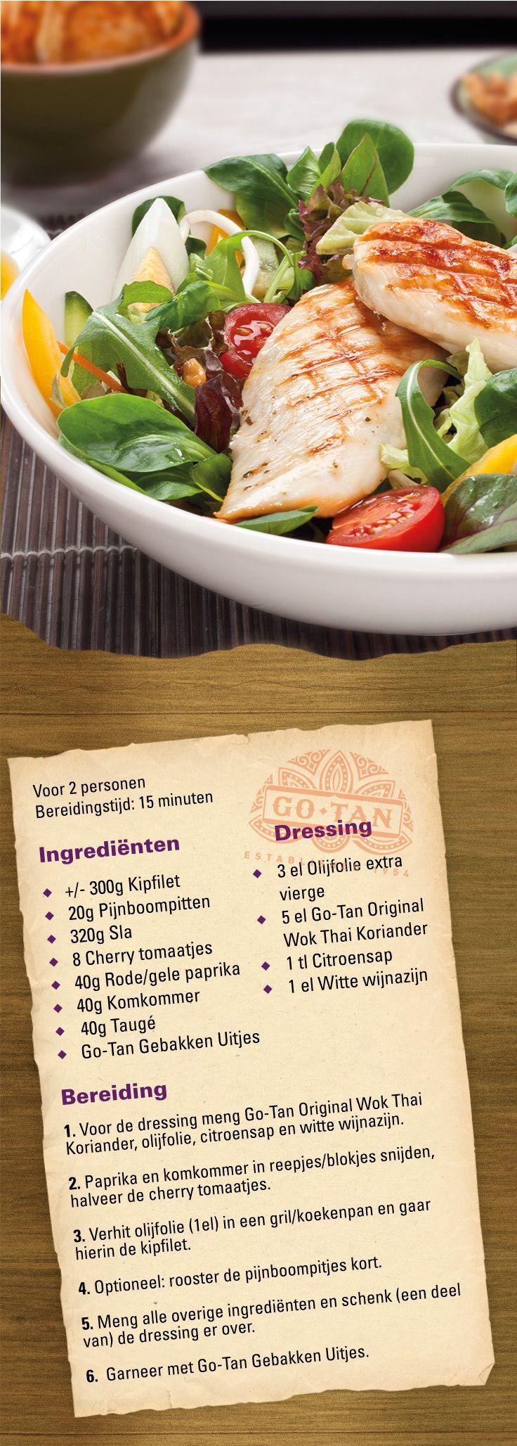 Thaise salade met gegrilde kip #recept #oosters #aziatisch #gezond #healthy #salad #thai #chicken
