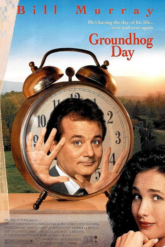 Groundhog Day (1993)   Phil (Bill Murray), a weatherman, is out to cover the annual emergence of the groundhog from its hole. He gets caught in a blizzard that he didn't predict and finds himself trapped in a time warp. He is doomed to relive the same day over and over again until he gets it right.
