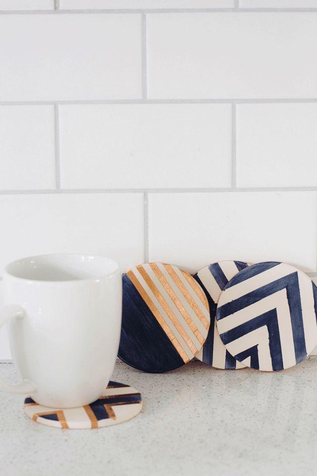 always rooney: Indigo & Copper Coasters | DIY
