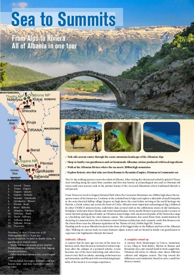 Sea to Summits From Alps to Riviera All of Albania in one tour  ✓ Trek old caravan routes through the scenic mountain land...