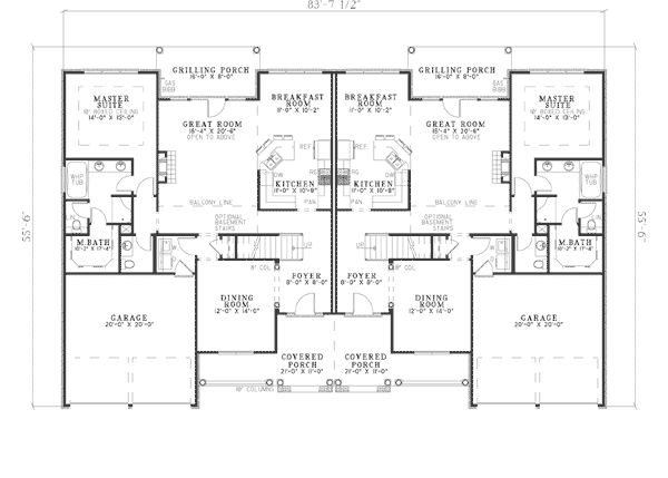 Bungalow traditional multi family plan 62198 traditional for Multi family plans