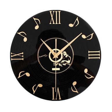 Retro Black Plastic CD Wall Clock Fashion Home Decoration(12'',Musical Notes)