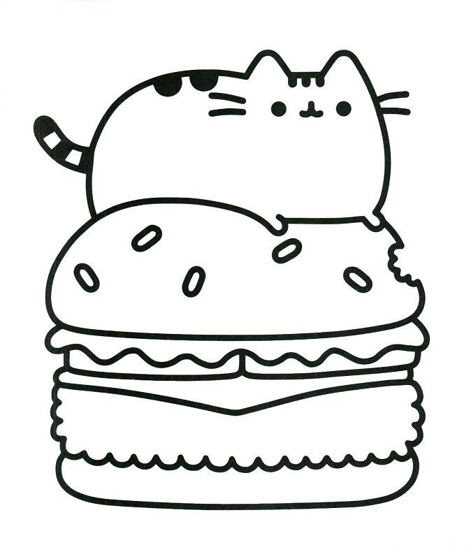 Donut Coloring Printables 20 Free Pusheen Coloring Pages To Print 674 X 800 Pixels Halaman Mewarnai Kreatif Sketsa Karakter