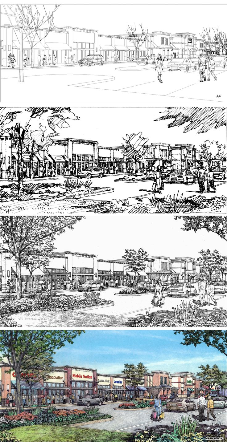 Edens Avant. Pooler Marketplace. Drawing process. Renderings by Bruce Bondy, Bondy Studio.
