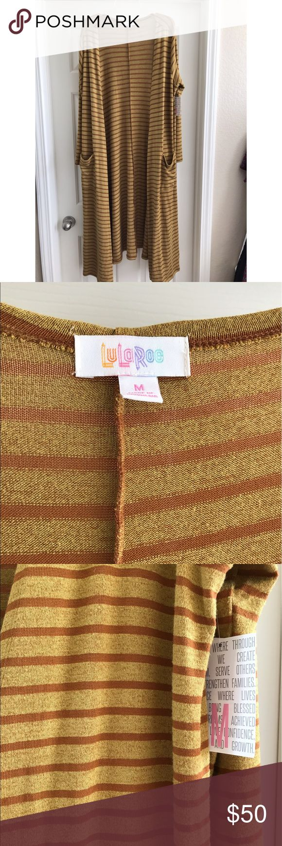 M Lularoe Sarah mustard cardigan. NWT Brand new and super stretchy. Striped mustard color duster cardigan. LuLaRoe Sweaters Cardigans