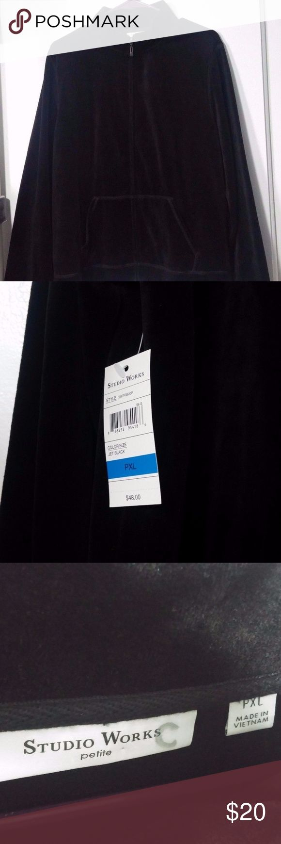 """Studio Works Velveteen Track Jacket Zip Up NWT Chest 44"""" - Sleeve Length 24"""" - Length 24""""  NEW with Tags Studio Works Women's Zip up Velveteen Track Jacket - 2 front pockets  Solid Black Size PETITE XL / PXL  - MSRP $48  Machine wash cold, tumble dry low - 75% cotton, 25% polyester  NEW with tags in excellent condition, but has a C written on inner tag - does not affect anything STUDIO WORKS Jackets & Coats"""