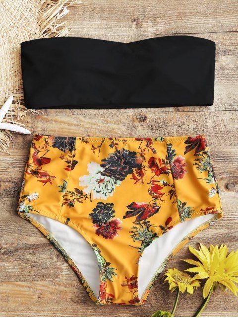 5da078b6c7bf Bandeau Top And Floral High Waisted Swim Bottoms BLACK: Bikinis L   ZAFUL