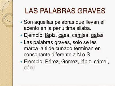 100 EJEMPLOS DE PALABRAS GRAVES O LLANAS