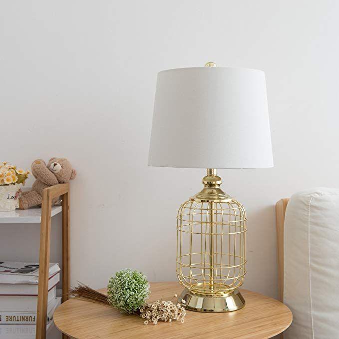 Co Z Elegant Table Lamps Birdcage Anti Rust Gold Metal Base