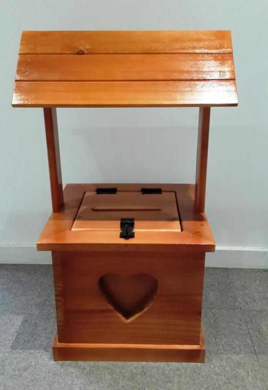 Wedding  Timber Stained Wishing Well with Heart Detail - WeddingWish.com.au
