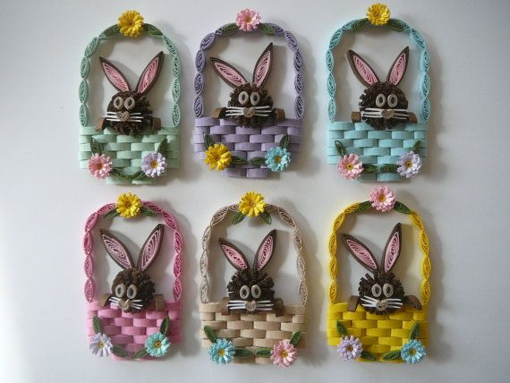 Paper Quilled Easter Bunny Rabbit Magnet di Customcrafter500