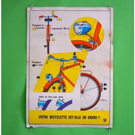 Votre Bicyclette Est-Elle En Ordre Bike Safety Poster - Bike Safety Posters