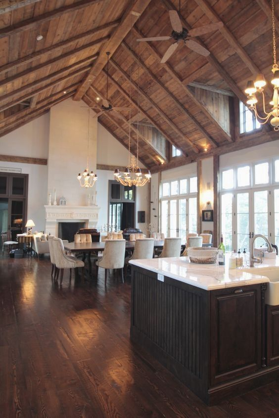 High wood ceiling with beams and ceiling fans Kitchen wood