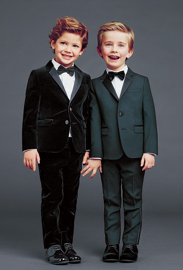 Dapper up your little gent in a crisp suit for the holidays. | Dolce and Gabbana Winter 2015 Boy's Collection