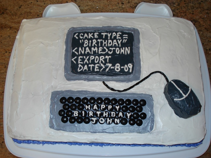computer cake - would be perfect for the boyfriend's graduation.