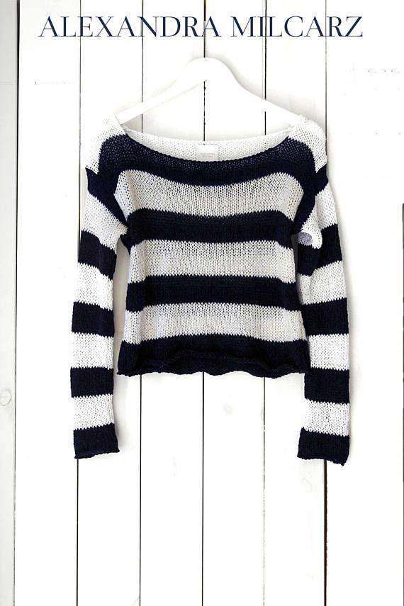 Marina  suéter blanco marinero rayas verano suéter suéter de