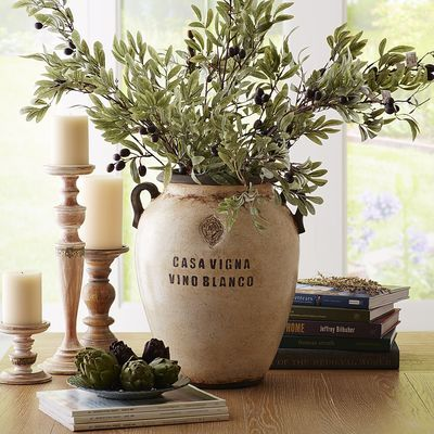 Antiqued White Casa Vigna Vase     Vase With Olive Branches For Behind Sink  In Kitchen?