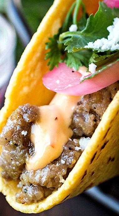 Beef Street Tacos with Chipotle-Lime Sauce and Pickled Red Onion
