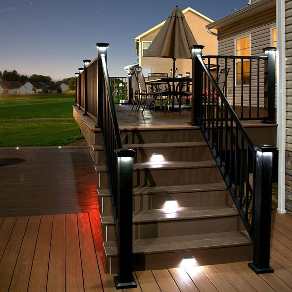 Riser Rail Led Light With 2 Covers By Lmt Mercer Deck Lighting Modern Patio Lighting Outdoor Deck Lighting
