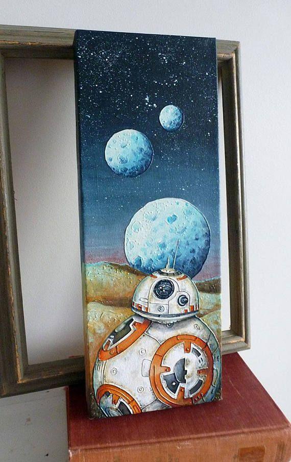 BB8 Original Painting 6x16 Star Wars Acrylic