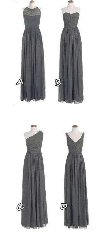 Hot Sales Grey Chiffon Bridesmaid Dresses,A Line Long Bridesmaid Dress,One Shoulder Bridesmaid Gowns,Mismatch Maid of Honor Dress Girls Group Dresses