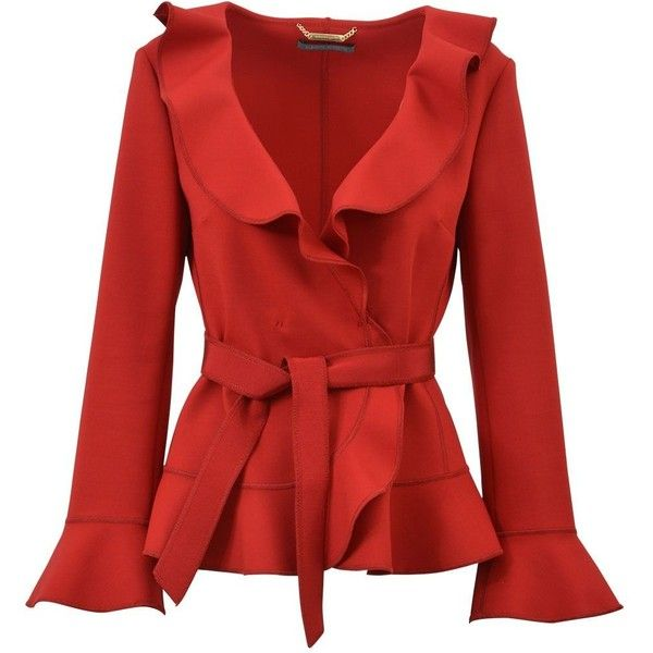 Red Jacket With Frills ($770) ❤ liked on Polyvore featuring outerwear, jackets, red, alberta ferretti jacket, embellished jackets, red ruffle jacket, alberta ferretti and ruffle jacket