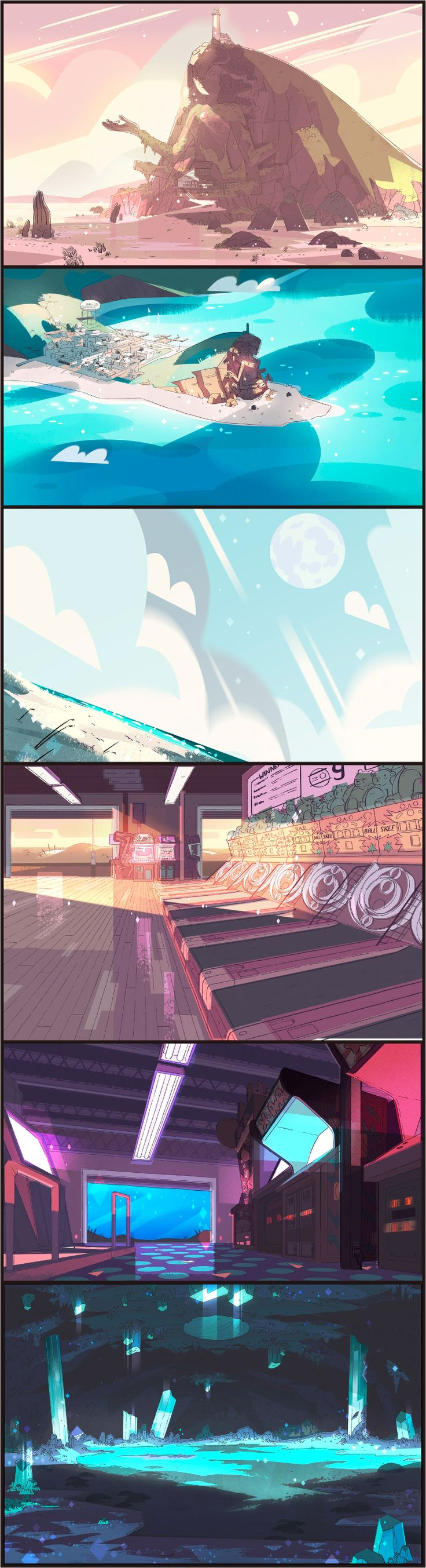 "A selection of Backgrounds from the Steven Universe episode: ""Arcade Mania."" Art Direction: Kevin Dart; Design: Emily Walus, Steven Sugar; Paint: Jasmin Lai, Elle Michalka, Amanda Winterstein, Tiffany Ford."