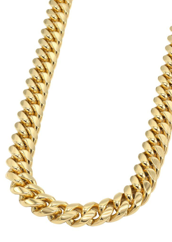 14k Gold Mens Chain Solid Miami Cuban Link Chains For Men Gold Cuban Link Chain Gold Chains For Men