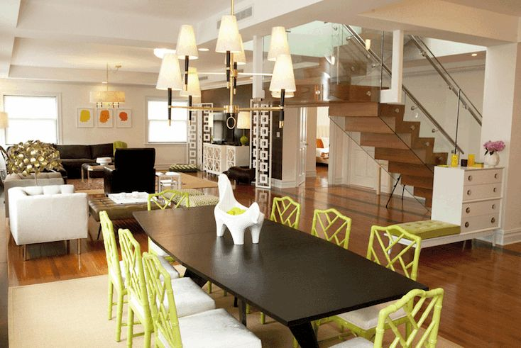 Jonathan Adler Open Dining Room Design With Modern Espresso Dining Table,  Green Faux Bamboo Chippendale Chairs, Jonathan Adler Jere Rain Drops  Mirror, ...