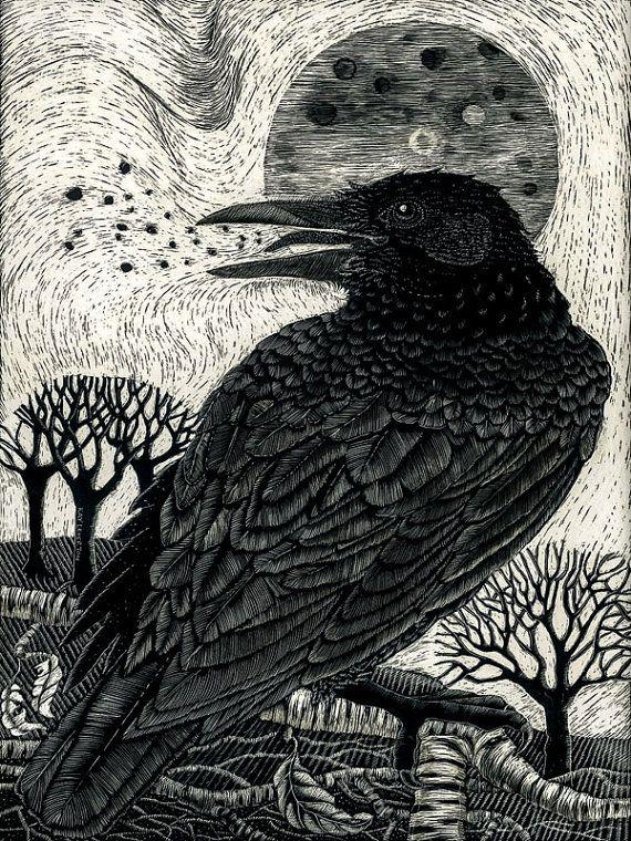 Kay Leverton Art Print Raven Song from Scraperboard Original
