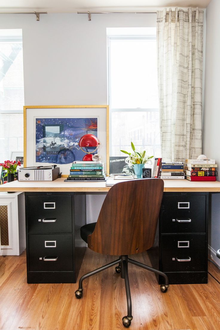 """Our Style Editor's Small-Space Makeover Shows Us How It's Done #refinery29  http://www.refinery29.com/small-nyc-apartment-makeover#slide5  After:  """"Since the desk chair was front-and-center, I switched in a masculine shape option that makes the room feel more adult and less girly."""