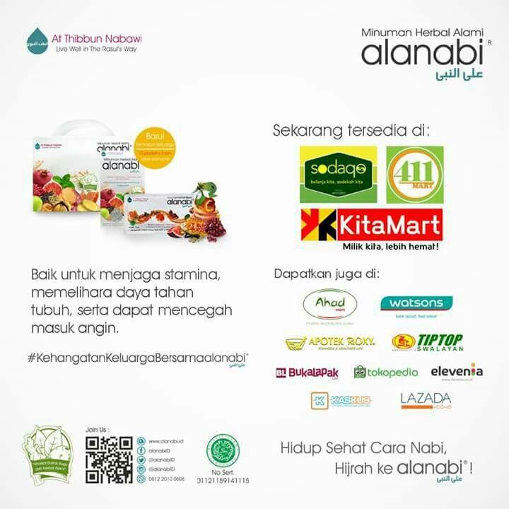 Tetap semangat menjalankan ibadah puasa, Alanabifams! Kini produk alanabi bisa didapatkan melalui Sodaqo Mart, 411 Mart dan juga KitaMart. . Bisa juga didapatkan melalui Ahad Mart, Watsons, Apotek Roxy, Tiptop, Bukalapak, Tokopedia, Elevenia, Kaskus, Lazada, serta beberapa reseller di berbagai daerah di Indonesia. Rasakan langsung manfaat dan #KehangatanKeluargaBersamaalanabi. . Hidup Sehat Cara Nabi, Hijrah ke Alanabi®! . Join Us: • Website : http://www.alanabi.id • Facebook : alanabiID