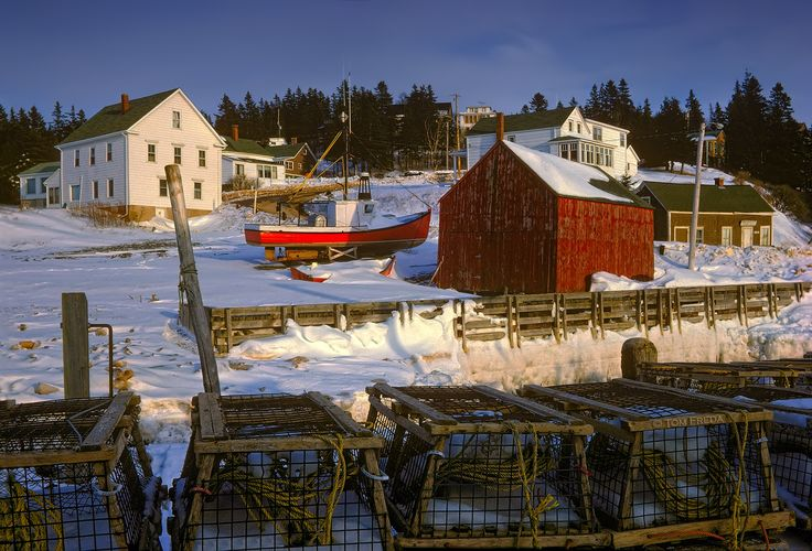 "Winter In Hall's Harbour by Tom Freda on 500px Grammies House, The Store and ""Sunset Cottage"""