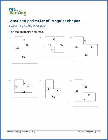 Grade 6 geometry worksheets: area and perimeter of ...