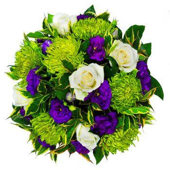 green and purple Flower Bouquets | Green Posy | Shamrock Chrysanthemum, White Roses, Purple Lisianthus ...